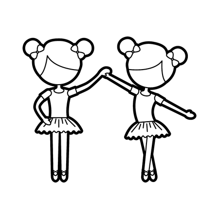 two ballet girl dance standing in pose vector illustration