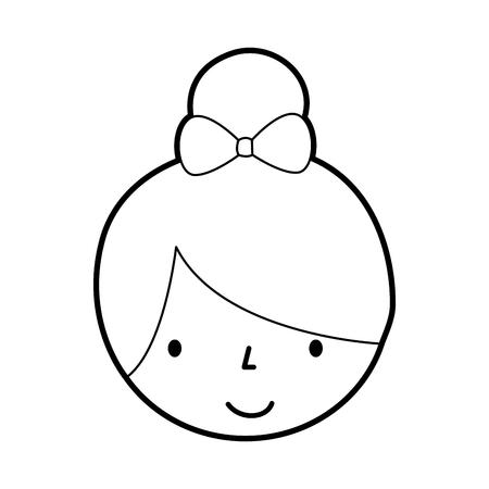 cute face little girl ballerina cartoon character vector illustration 向量圖像