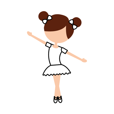 the little girl danced ballet with tutu dress and bun hair vector illustration Ilustrace