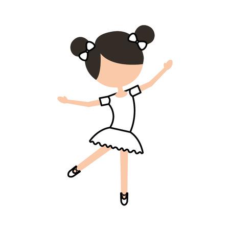 La niña baila ballet con vestido de tutú y la ilustración de vector de pelo de bollo Foto de archivo - 88537856
