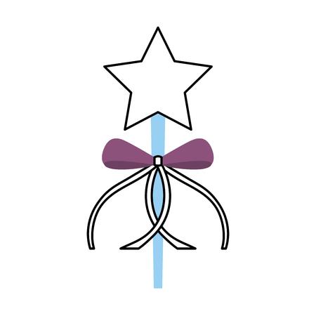 princess wand with bow ribbon decoration vector illustration Фото со стока - 88537861