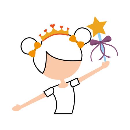 魔法の杖のベクトル図を保持している小さな女の子ダンサー バレエ