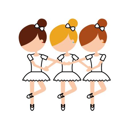 three girls dancing ballet classic practice vector illustration Ilustrace