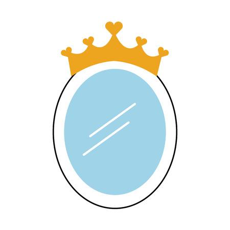 Krone Spiegel Prinzessin Dekoration Zubehör Vektor-Illustration Standard-Bild - 88537867