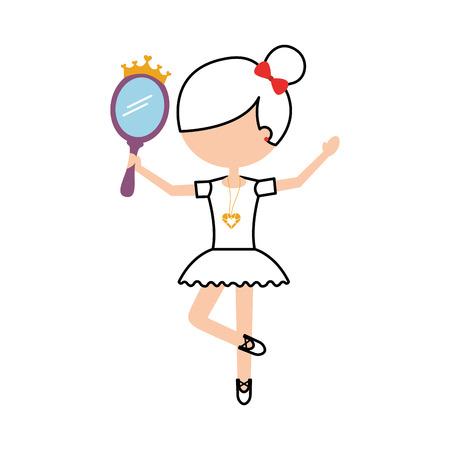 klein meisje danseres ballet bedrijf prinses spiegel vectorillustratie Stock Illustratie