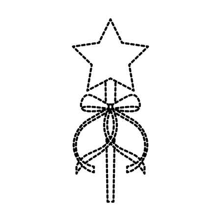 princess wand with bow ribbon decoration vector illustration