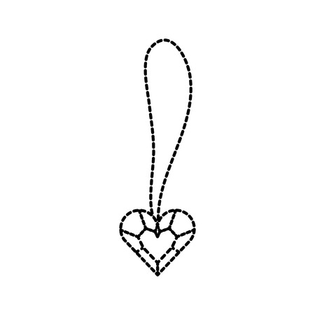 cute necklace heart jewelry for princess girl vector illustration Ilustração