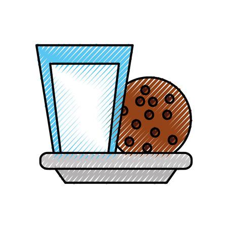 우유 유리와 쿠키 초콜릿 칩 스낵 벡터 일러스트 레이션