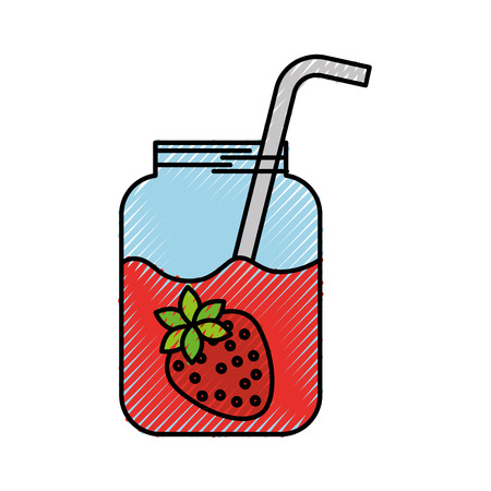glass jar of juice strawberry with straw beverage fresh vector illustration Reklamní fotografie - 88538061