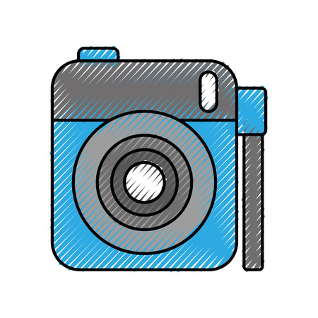 photo camera lens flash button device cartoon vector illustration