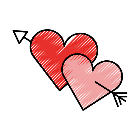Dois corações perfurados com flecha ilustração do vetor do amor romântico Foto de archivo - 88538077