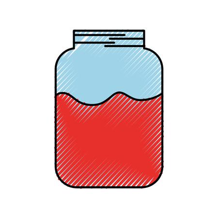 glass jar flask liquid fresh sweet vector illustration