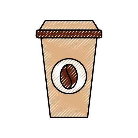 휴대용 커피 컵 종이 콩 모자 신선한 벡터 일러스트 레이션