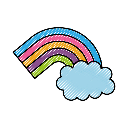 symbol of rainbow and clouds in the sky vector illusttration Illustration