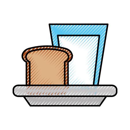 milk glass with slice bread breakfast food vector illustration