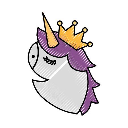 unicorn head portrait horse magic cartoon fantasy cute animal vector illustration