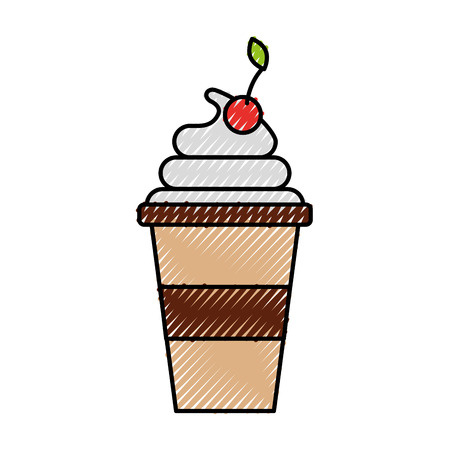 Plastic beker crème fruit verse drank vectorillustratie Stockfoto - 88539837