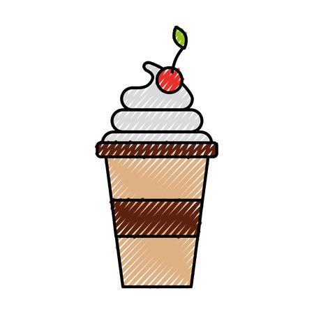 plastic cup cream fruit fresh beverage vector illustration Illusztráció