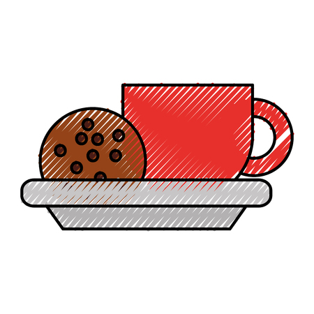 cup of coffee and cookie chocolate chip vector illustration
