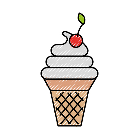 decorative sweet ice cream in wafer desserts with fruit vector illustration