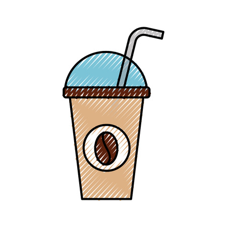 plastic coffee cup drink with dome lid and straw vector illustration