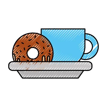 koffiekopje en zoete lekkere eten vectorillustratie