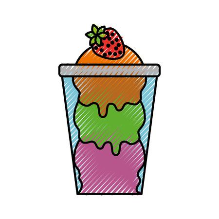 Crème glacée à la fraise en verre illustration vectorielle de coupe Banque d'images - 88541177