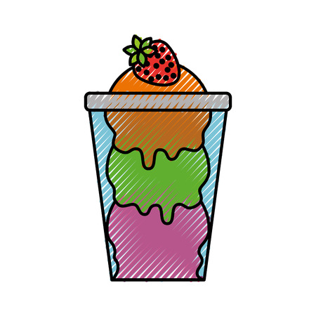 ice cream with strawberry in glass cup vector illustration Illustration