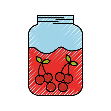 glass jar juice cherry fruit delicious vector illustration