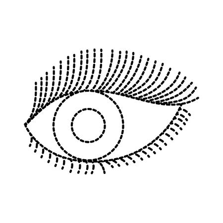 美しい女性目眉とまつげのベクトル図でワイド オープン