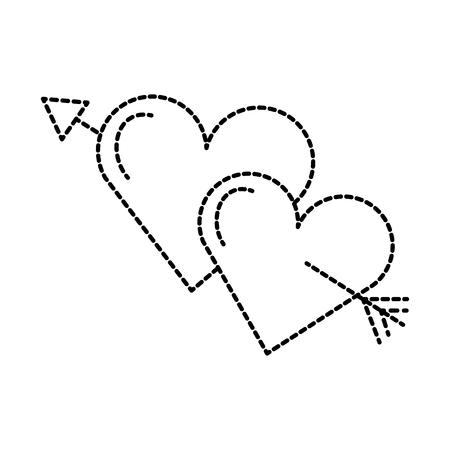 two hearts pierced with arrow romantic love vector illustration Illustration