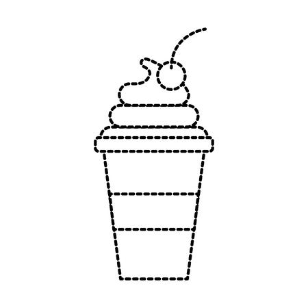 plastic cup cream fruit fresh beverage vector illustration 向量圖像