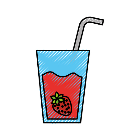 わら飲料新鮮なベクトル図とイチゴ ジュースのグラス