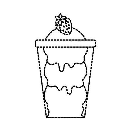 ice cream with strawberry in glass cup vector illustration 向量圖像