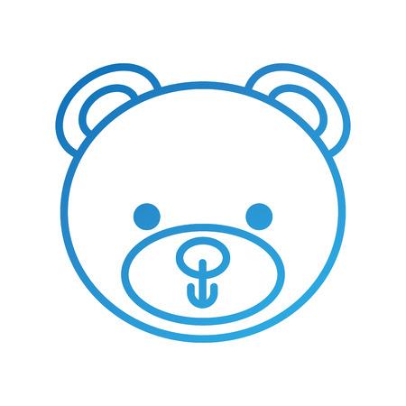 schattige teddybeer hoofd speelgoed chilhood vectorillustratie