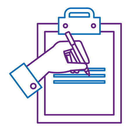 clipboard paper with hand signing vector illustration design