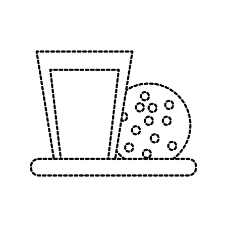 milk glass and cookie chocolate chips snack vector illustration 向量圖像
