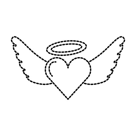 romantic winged heart love on valentines day vector illustration Illustration