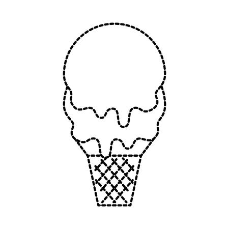 ice cream in waffle cone flavor sweet vector illustration