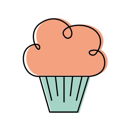 birthday sweet cupcake dessert food delicious vector illustration
