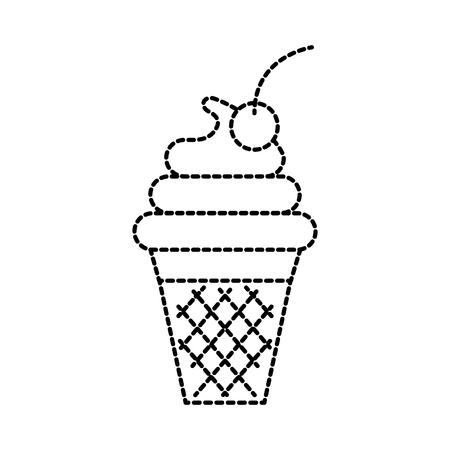 ウェーハ デザートとフルーツで装飾的な甘いアイスクリーム ベクトル イラスト