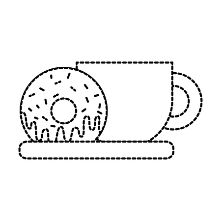 coffee cup and sweet donut tasty food vector illustration