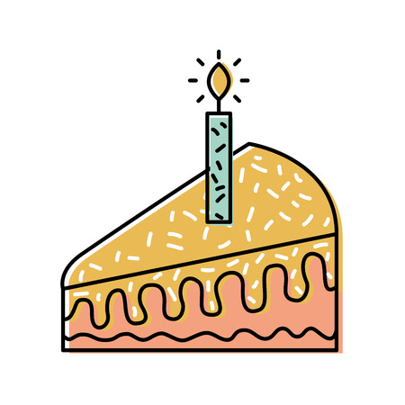 생일 벡터 일러스트 레이 션을 축 하하는 하나의 촛불 케이크 한 조각