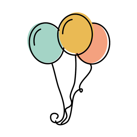 bunch of birthday balloons flying for party and celebrations vector illustration Illustration