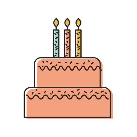 誕生日のケーキのキャンドルを燃焼甘いおいしいベクトル図