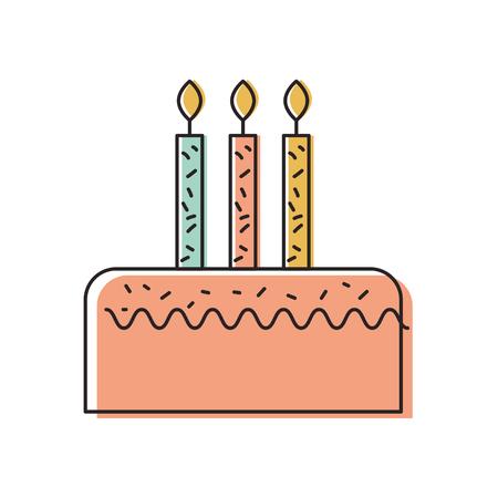 birthday cake with three candles celebration event vector illustration Stock fotó - 88544626