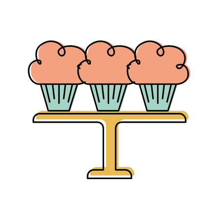 봉사 트레이 벡터 일러스트 레이 션에 정렬하는 3 생일 컵 케이크 일러스트