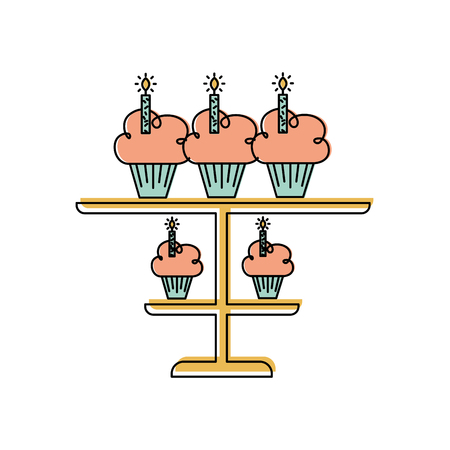 birhtday cupcakes candles on tiered platter decoration vector illustration Çizim