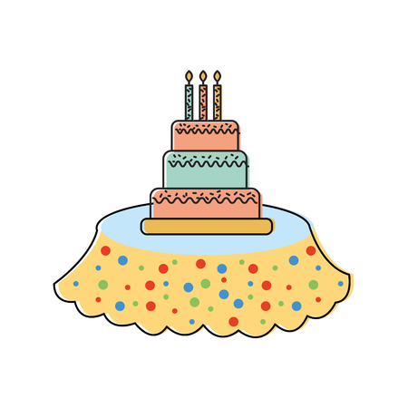 birthday cake candles on the table event service vector illustration Çizim