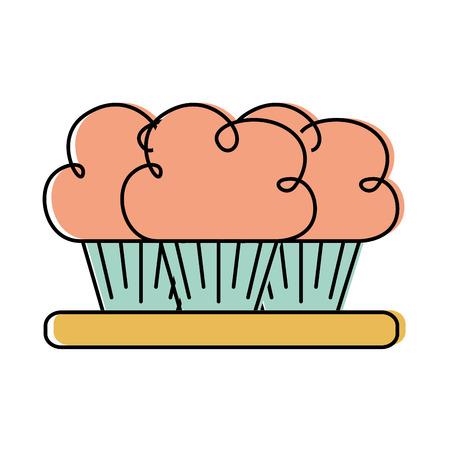 プレート料理パーティー デザート ベクトル図の 3 歳の誕生日ケーキ